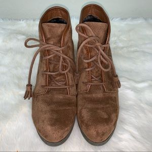 Madden Girl suede ankle booties, size 8